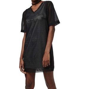 TOPSHOP | BLACK V-NECK SHIFT MESH DRESS | 4